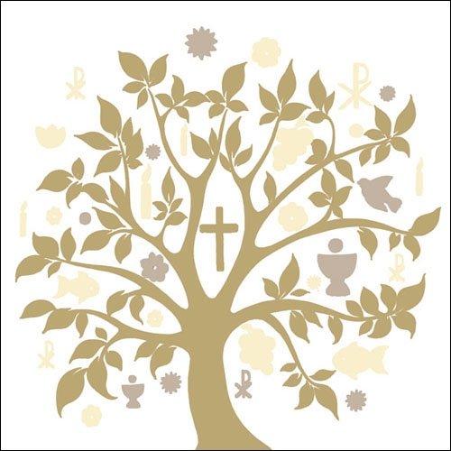 Ambiente Cena Tovaglioli/Partito ca.33x33 Communion Symbols Gold - Simbolo Comunione Oro - Fede - Credere - Prima Comunione - Ideale Come Regalo Perfetto Come Regalo