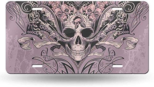 Purple Graphic Pink Tattoo Skull Heart On Dusty Mauve Black Evil Swirls License Plate Frame for Front Car,Metal License Plate Cover,Homor License Plate Vanity Tag for Women