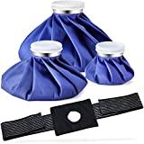 Ice Bag Packs, Ohuhu 3 Pack [11' 9' 6'] Reusable Ice Bags for Injuries with a Adjustable Wrap, Hot & Cold Therapy and Pain Relief for Knee Leg Injury, 4-Pack, (6'/9'/11'), For Hot Therapy Is 122℉-140℉