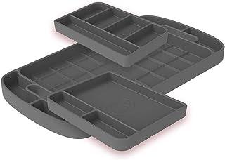 S&B Non-Slip Flexible Silicone Tool Tray   Tool Mat   Tool Organizer   Tool Holder (3pc Set, Charcoal, 80-1004)
