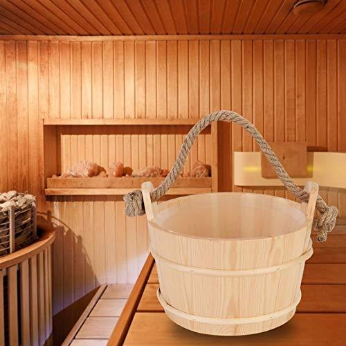 Barril de Madera para Sauna de 6 litros con Mango de Cuerda Simple Accesorio para Sala de Sauna para bañera y Ducha de hidromasaje