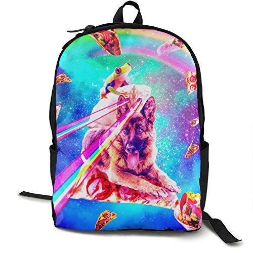 Pulchrumcs Galaxy Frog Riding Cat And Dog Pizza Taco Burrito Backpack Bookbag Large Capacity Shoulder Bag School Bag Casual Daypack For Women Men Girls Boys Teens Youth