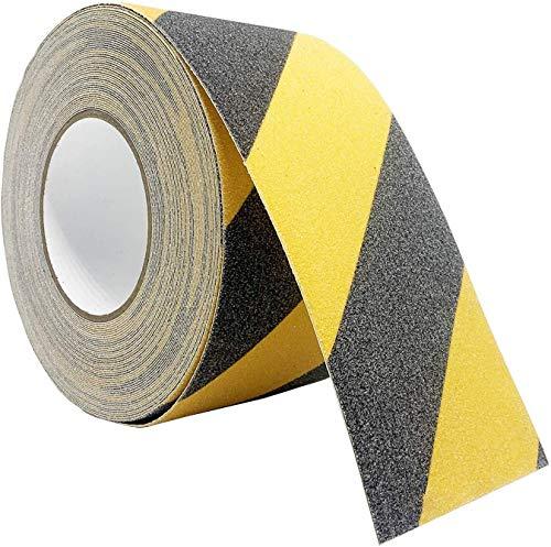 reflectante de seguridad con grano abrasivo resistente al agua Cinta de seguridad antideslizante de 50 mm x 3 m 2 unidades color negro y amarillo