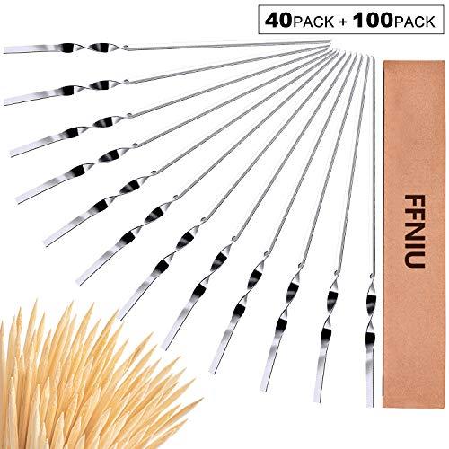 FFNIU BBQ Skewer for Grilling, Stainless Steel Flat Metal Grill Kabob Skewers Set, 40 Metal Skewers and 100 Bamboo Skewers