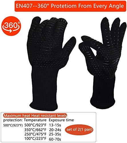 Senders Grillhandschuhe, Ofenhandschuhe Hitzebeständige bis zu 800 ° C Grill Handschuhe Universalgröße Kochhandschuhe Backhandschuhe rutschfeste mit Silikon für BBQ/Kochen/Backen/Schweißen - 3