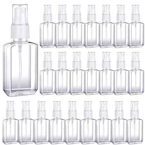 24 Pezzi 60 ml/ 2 oz Mist Sprayer Bottle Flacone Spray Portatile da Viaggio Contenitori Riutilizzabili Vuoti Bottiglia di Plastica Trasparente con Spruzzatore in Plastica Bianca per Liquidi