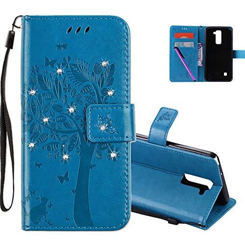 COTDINFOR LG Stylus 2 Hülle für Mädchen Elegant Retro Premium PU Lederhülle Handy Tasche mit Magnet Standfunktion Schutz Etui für LG Stylus 2 / LS775 Blue Wishing Tree with Diamond KT.