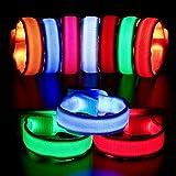 BBTO 12 Piezas Brazaletes LED Iluminadas Pulseras de Luz LED Pulsera Deportiva Intermitente Equipo Alta Visibilidad para Fiesta, Running, Ciclismo, Conciertos, Festivales