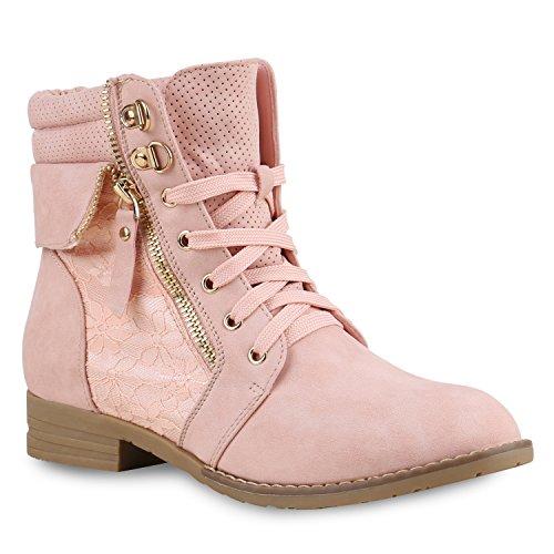 stiefelparadies Damen Stiefeletten Schnürstiefeletten Leder-Optik Schuhe Spitzenstoff Boots Zipper Schnürboots 130896 Rosa Spitze 35 Flandell