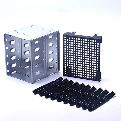 EMVANV 13,3cm a 5x 8,9cm SATA SAS HDD Cage Rack Driver di Vassoio Caddy con Ventola Spazio Silver+Black