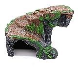Reptilienhöhle Reptil Box Schutz Versteck Höhlen Schildkröte Rampe Aalen Plattform Lebensraum Dekor Felsen Befeuchten Ausblenden Höhle (Size : Brown)