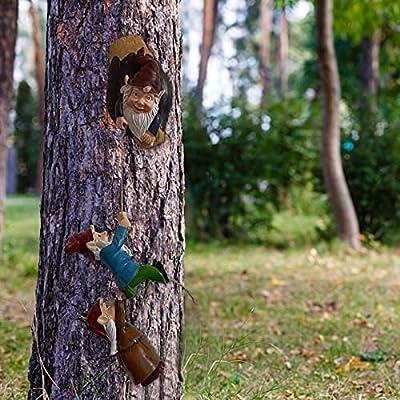 Amazon - Save 80%: PLENTOP Gnome Tree Hugger, Miniature Fairy Elf Climbing to The Window…