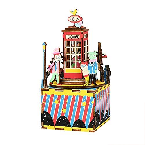 Boîte à Musique Figurine Jouet Musical Cadeaux de Naissance et Souvenirs Décoration de La Maison Voiture Boîte Musique Jouet pour Enfants Anniversaire Mariage (Telephone Booth Waltz)