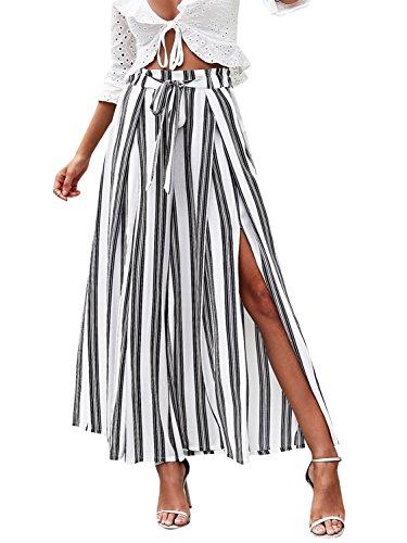 Simplee Women s Elegant Striped Split High Waisted Belted Flowy Wide Leg Pants White Stripe 1/7 Medium 8