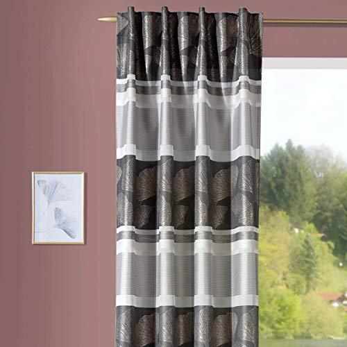 SchÖNER LEBEN. Cortina con trabillas, tejido jacquard Ginkgo y rayas horizontales, gris, blanco, beige, 140 x 245 cm
