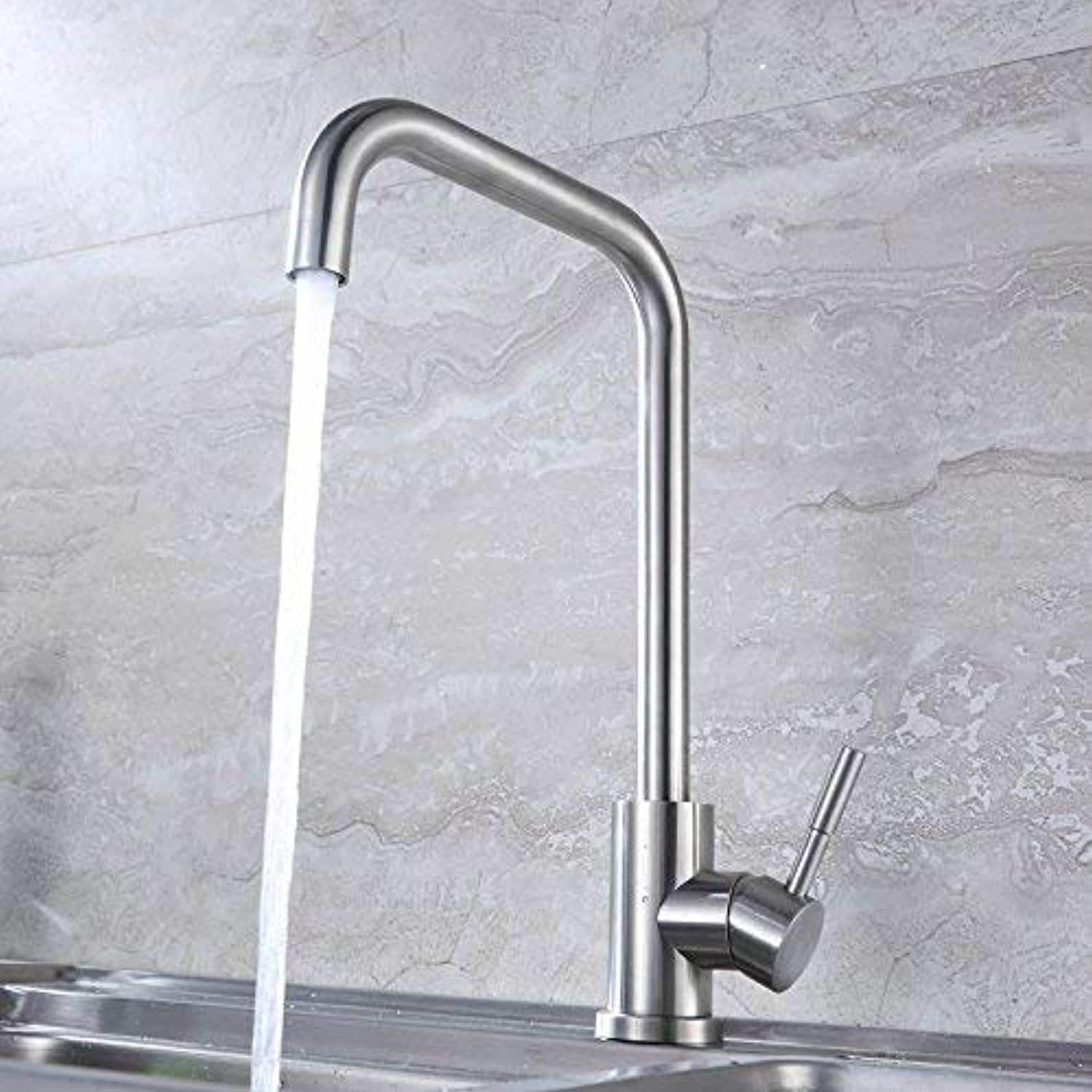 Oudan Hot and Cold Water Faucet Kitchen Faucet Hot and Cold Vegetables Basin Sink Faucet Brushed Stainless Steel Faucet Can Be redated C Models Without Hose (color   C Models Without Hose, Size   -)
