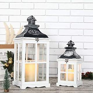 JHY Design - Juego de 2 farolillos colgantes vintage de 55 cm y 36 cm de alto, decorativos, de madera y metal, para velas, para interiores, exteriores, jardín, fiestas, bodas