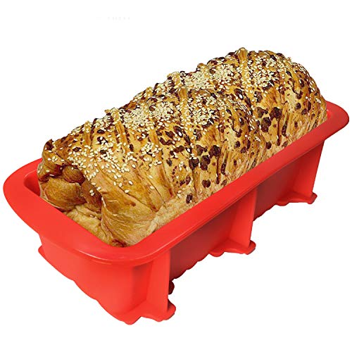 Walfos Nonstick Silicone Bread and Loaf Pan Set of 2, BPA Free ! Without Chemical Coating,Just Pop Out! Easy release and baking mold for Homemade Cakes, Breads, Meatloaf and quiche.