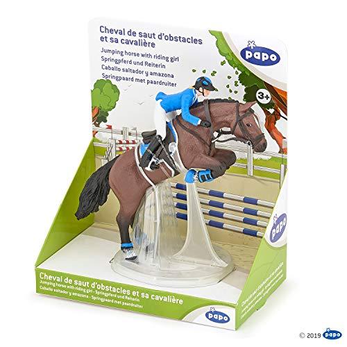 Papo 51560 Figura de Caballo Saltando con Chica equitativa, Foals and Ponies Multicolor