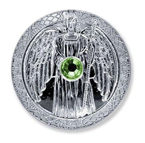 Glücksmünze Engeltaler Schutzengel Erzengel Raphael Silber Taler Swarovski Kristall Ø 27mm | Talisman Glücksbringer Schutzsymbol Glückstaler Esoterik