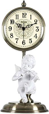 Horloges De Table Pour Salon D/écor Chambre /À Coucher Petit Horloge De Bureau /À Piles Analogique Non Ticking Silencieux Moderne Simple Maison D/écoratif Bois Couleur : A