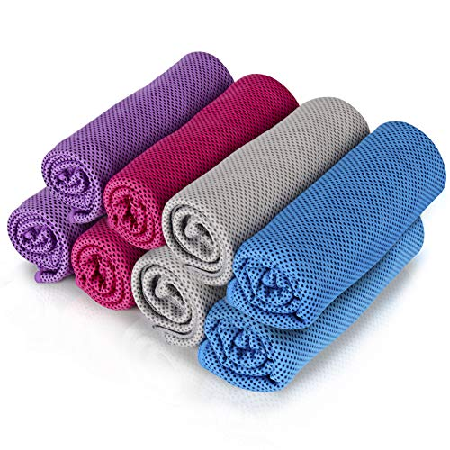 """8Packs Cooling Towel (40""""x 12""""), Ice Towel, Microfiber Towel, Soft Breathable Chilly Towel Stay Cool for Yoga, Sport, Gym, Workout, Camping, Fitness, Running, Workout & More Activities"""