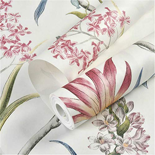 WZL Chinoiserie Tapete Schlafzimmer Wandverkleidung Modern Vintage Rosa Blumen Tapete Blau Tropische Schmetterlinge Vögel Blumen Wandpapier Cremeweiß 10 m x 53 cm