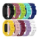 Bands Compatible with Fitbit Ace 2 for Kids 6+ Soft Colorful Silicone Bracelet Wristands for Ace 2 Fitness Tracker for Ace 2 Classic Accessory Band (10Pack)