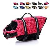 HAOCOO Dog Life Jacket Vest Saver Safety Swimsuit Preserver with Reflective Stripes/Adjustable Belt Dogs?Pink Bone,S