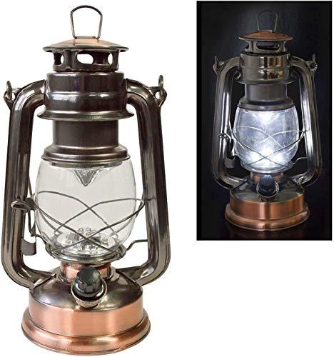 JACKWS Traditionelle 15 LED Hurricane Miners Laterne-Licht-Lampe - Antike-Art-Bronzen-Kupfer-Oberfläche und einstellbare Dimmer-Funktion