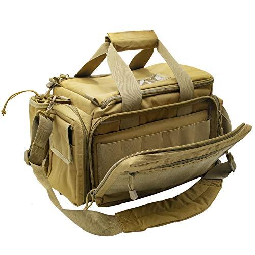 Kosse Tactical Gun Range Bag Pistol Shooting Duffle Bag, Deluxe Padded Shooting Range Bag Large Handguns Magazine Ammo Gear Accessories Pouch for Hunting Shooting Range Sport(Khaki)