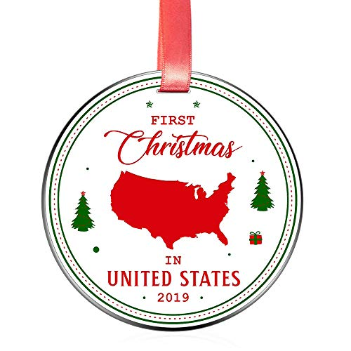 Elegant Chef First Christmas in United States 2019 Ornament- Tree Hanging USA Lover Decoration for Xmas Holidays Celebration- 3 inch Flat Stainless Steel- Festival Decor Gift for Family Friends