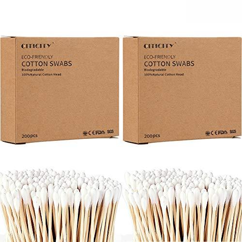 BESTZY Cotons Tiges 400 Pièces Coton-Tige en Bambou Durable Cotons-tiges Biodégradables en Bambou de Culture Biologique