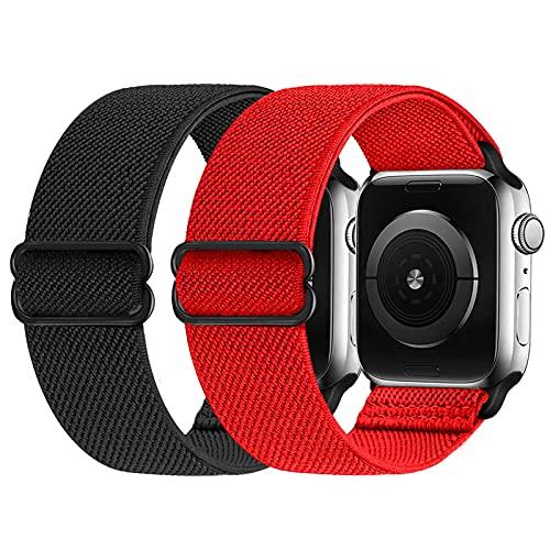 2 Pezzi Cinturino elastico compatibile con cinturino Apple Watch 38mm 42mm 40mm 44mm, cinturino di ricambio in nylon morbido per iWatch Series 6, 5, 4, 3, 2, 1, SE(nero/rosso, 42/44mm)