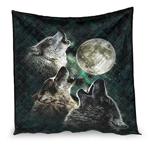 YshChemiy Tre lupi e la luna lupo cotone trapunta casa coperta accogliente trapunta coperta Desiged copriletto una persona bianco 230x280cm