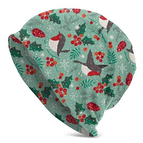 Lsjuee Christmas Birds Bunte Blumenmütze Männer Frauen - Unisex Winter Sommer Warm Cuffed Plain Slouchy Skull Tägliche Strickmütze Kappe Schwarz