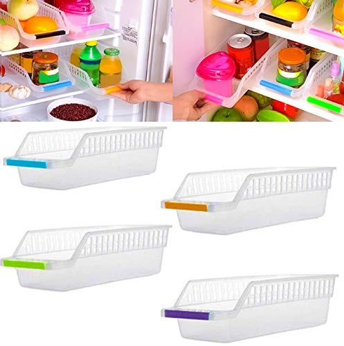 Angel Bear Fridge Storage Basket Shelf Organiser Rack Space Saver Food Storage Refrigerator Drawer (4) (Made in India)
