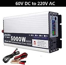 Power Inverter 12V/24V/48V/60V DC to 220V AC with LED Display Vehicles Cars Power Inverter Transformer Adapter Portable Automobile Power Supply US Plug (DC62V to AC220V/5000W)