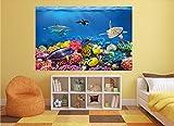 GREAT ART XXL Poster Aquarium Meerestiere | farbenfrohe Unterwasserwelt Meeresbewohner Ozean Fische Riff Delphin Schildkröte Korallenriff | Wandbild Fotoposter Wanddeko Fototapete | 140 x 100 cm - 7