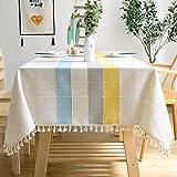 J-MOOSE Tischdecke farbige Streifen Stickerei Rechteck/längliche Baumwolle Leinen Elegante Tischdecke waschbare Küchentischabdeckung für Speisetisch (140x240cm, Blau/Gelb)