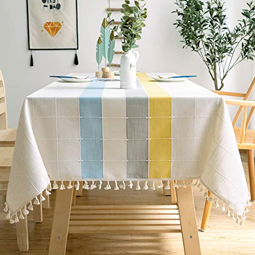 J-MOOSE - Mantel sólido Bordado a Cuadros de algodón para Cocina, Comedor, decoración de Mesa, Blue/Yellow, 140x180 cm
