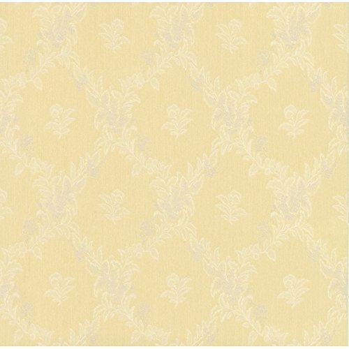Schwere Satintapete 70 cm breit Ranken Barock Floral gelb