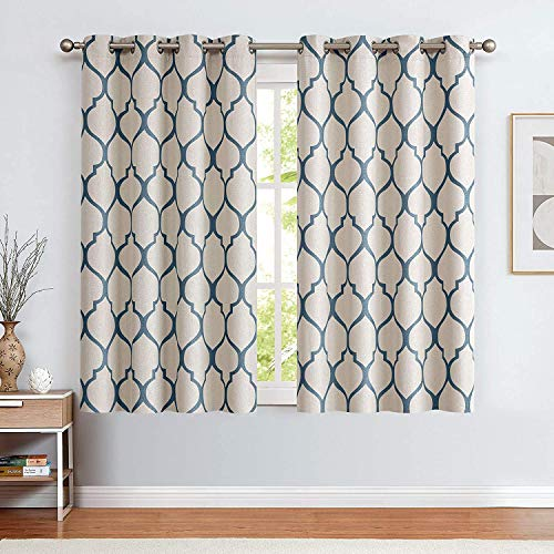 jinchan Moroccan Tile Linen Textured Curtains Printed Curtain Panel Bedroom Living Room Thermal Insulated Window Treatment 1 Panel 63 Inch Blue