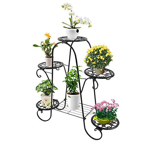 Metal Flower Pot Plant Stand Balcony Floor-Standing Multilayer Shelf Rack,Easy to Move, Flowerpot Tray for Indoor, Outdoor, Patio