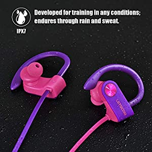 LETSCOM Bluetooth Headphones IPX7 Waterproof, Wireless Sport Earphones, HiFi Bass Stereo Sweatproof Earbuds W/Mic, Noise Cancelling Headset for Workout, Running, Gym, 8 Hours Play time, RedPurple