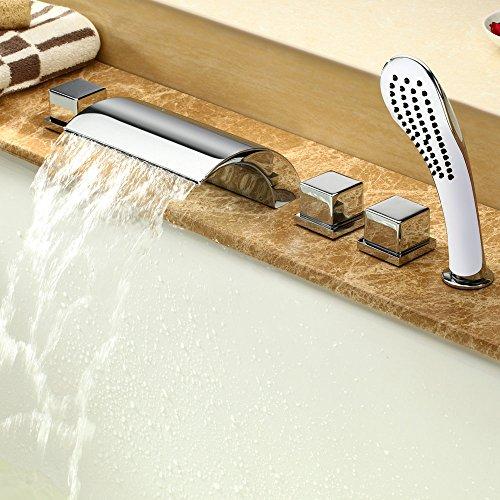 Hiendure®Elegant Zeitgenössische Chrom Armatur Wasserfall Badewanne Wasserhahn Wandhalterung mit Handbrause für Bad Badezimmer