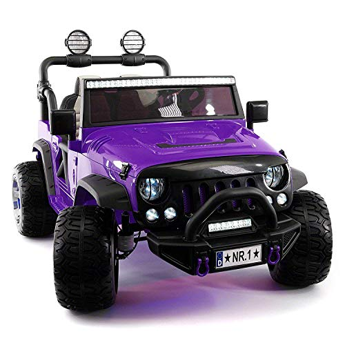12 Volt Explorer Truck Battery Powered Led Wheels 2 Seater Children Ride On Toy Car for Kids Leather Seat MP3 Music Player with FM Radio Bluetooth R/C Parental Remote Product Name (Purple)