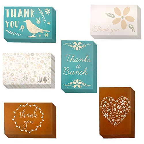 Thank You Cards Bulk - 48-Pack Thank You Cards, 6 Floral Designs, Thank You Notes, Envelopes Included, 4 x 6 Inches