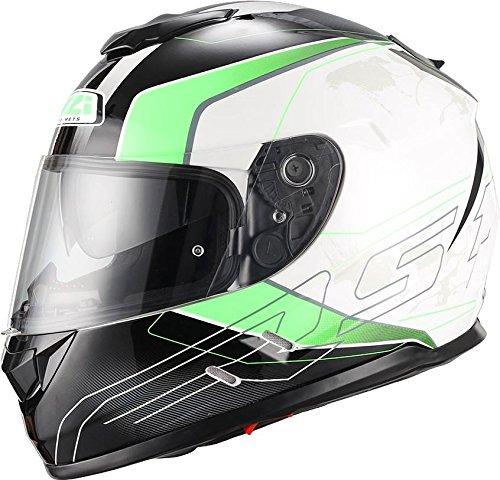 NZI Symbio Duo Graphics Casco De Moto(Aresone Blanco Verde,Pequeña)
