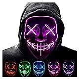 Anxicer Purge Mask para Carnaval,LED Máscara Luminosa Terror y Diversión,3 Modos de Parpadeo Diferentes Controlables,para Hombres Mujeres con Niños Carnival Halloween Fiesta Cosplay Mascarada